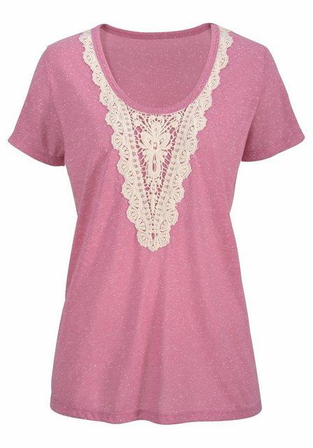 Damen LTB T-Shirt ORACI mit Häkel-Applikation rosa | 08697600320564