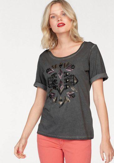 Coccara T-Shirt PEARL, mit Pailletten im Ethno-Look