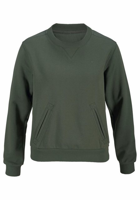 Damen G-Star RAW Sweatshirt Hybrid Archive Cropped mit Einschubtaschen vorn grün | 08719368697990