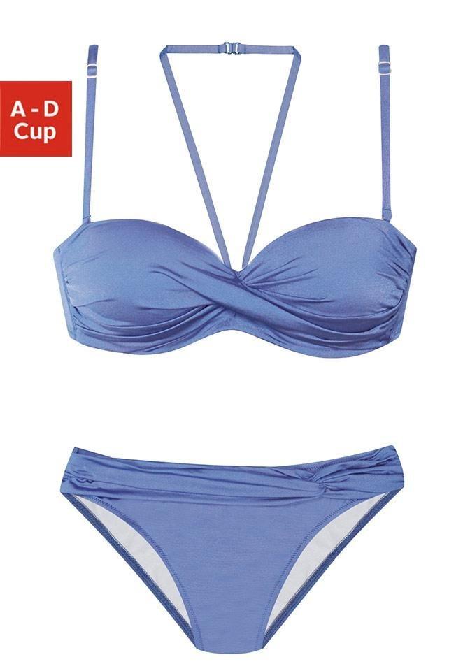 38a8faabd8614 LASCANA Bügel-Bandeau-Bikini mit 5 Tragevarianten, Wattierte Cups ...