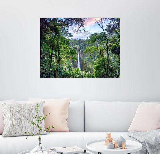 Posterlounge Wandbild - Matteo Colombo »Regenwald und Wasserfall, Costa Rica«