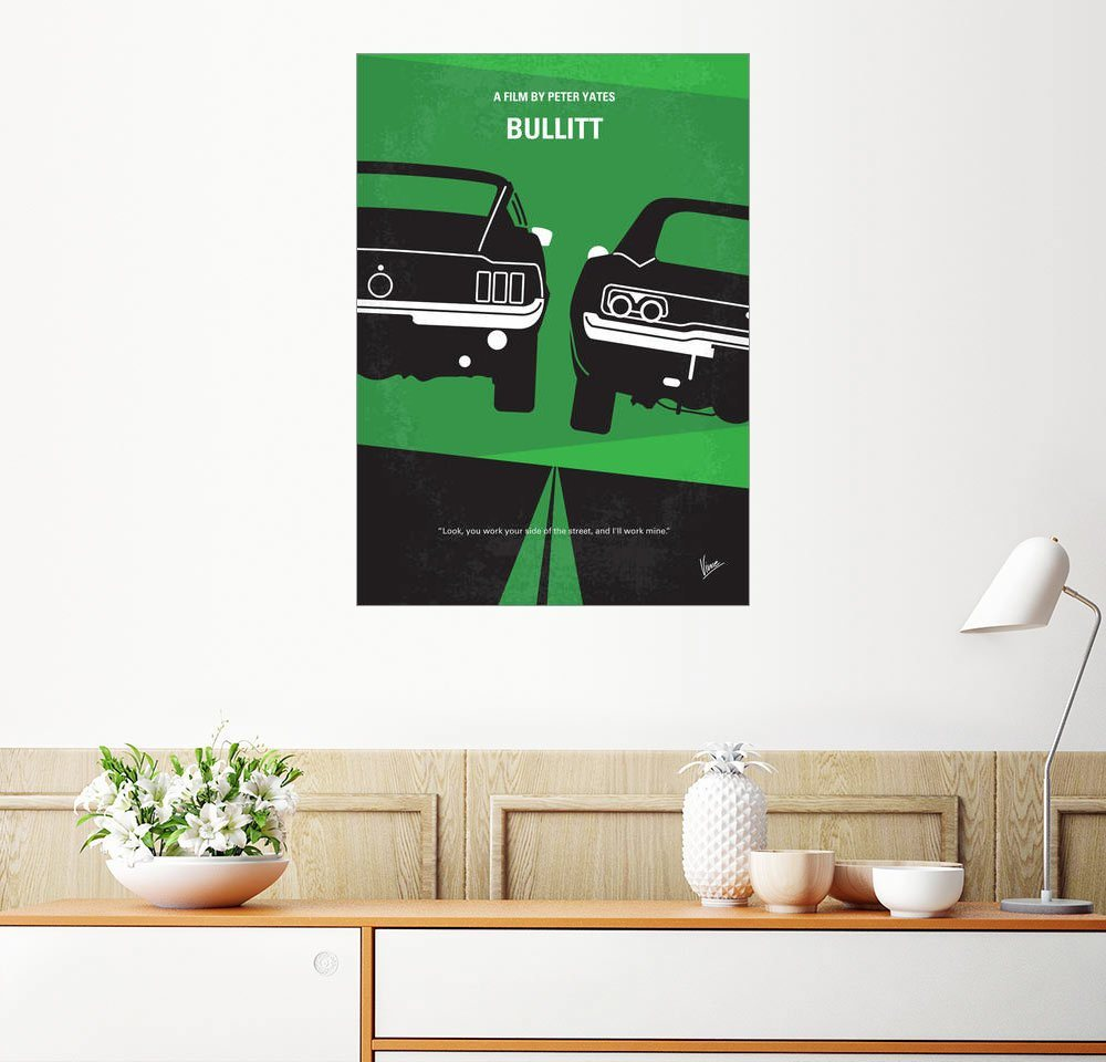 Posterlounge Wandbild - chungkong »No214 My BULLITT minimal movie poster« | Dekoration > Bilder und Rahmen > Poster | Holz | Posterlounge