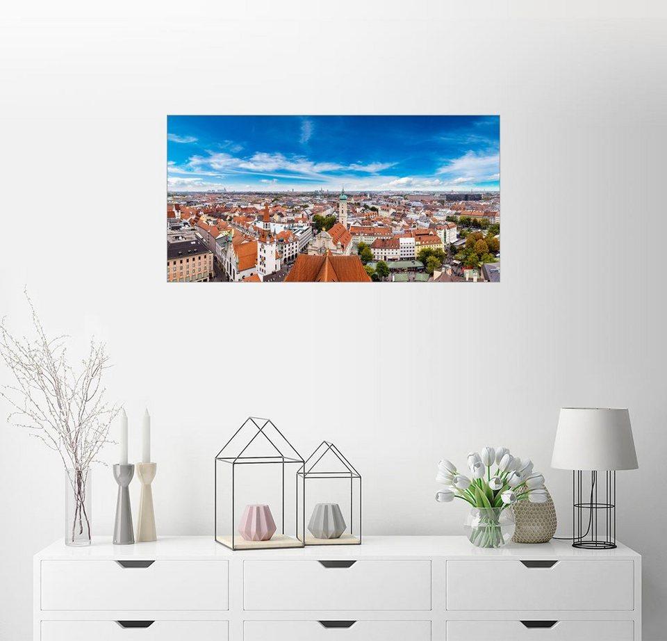 posterlounge wandbild luftaufnahme von m nchen an einem sommertag online kaufen otto. Black Bedroom Furniture Sets. Home Design Ideas