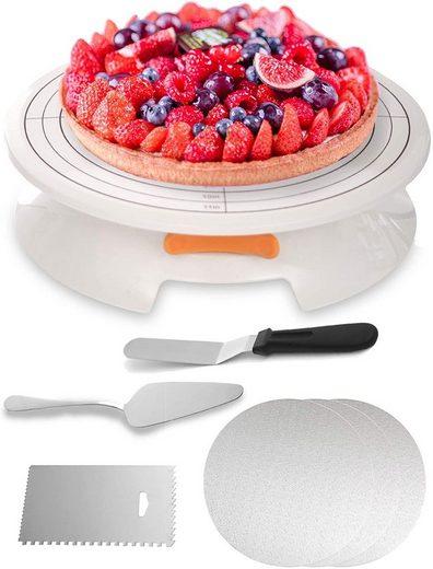 Praknu Tortenplatte »Praknu Tortenplatte Drehbar Set«, Plastik-Edelstahl, (Set), 5-teilig - 30cm Drehteller - rutschfest - Zum Dekorieren und Verzieren