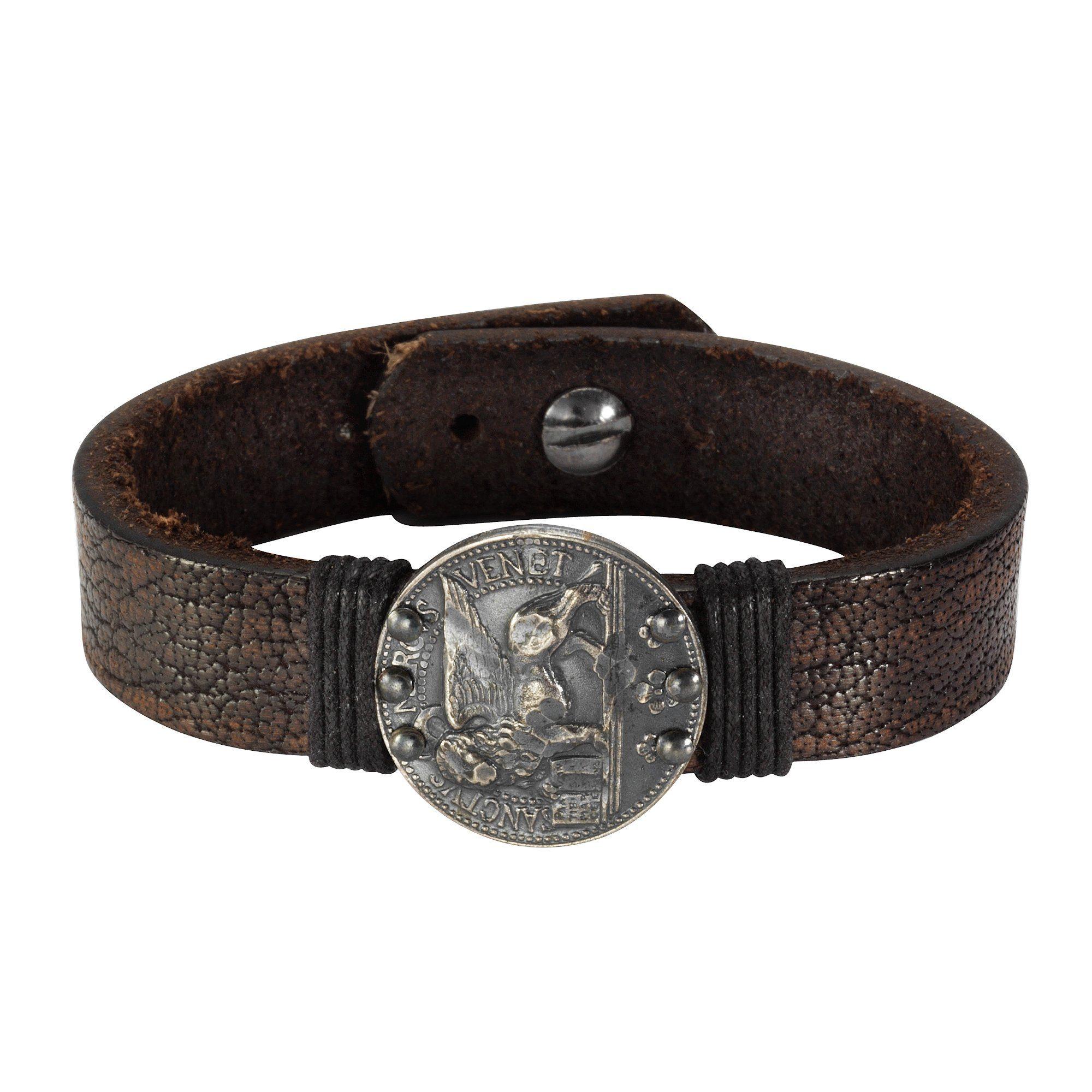 NOX Armband »Leder braun 21cm Münze Edelstahl«