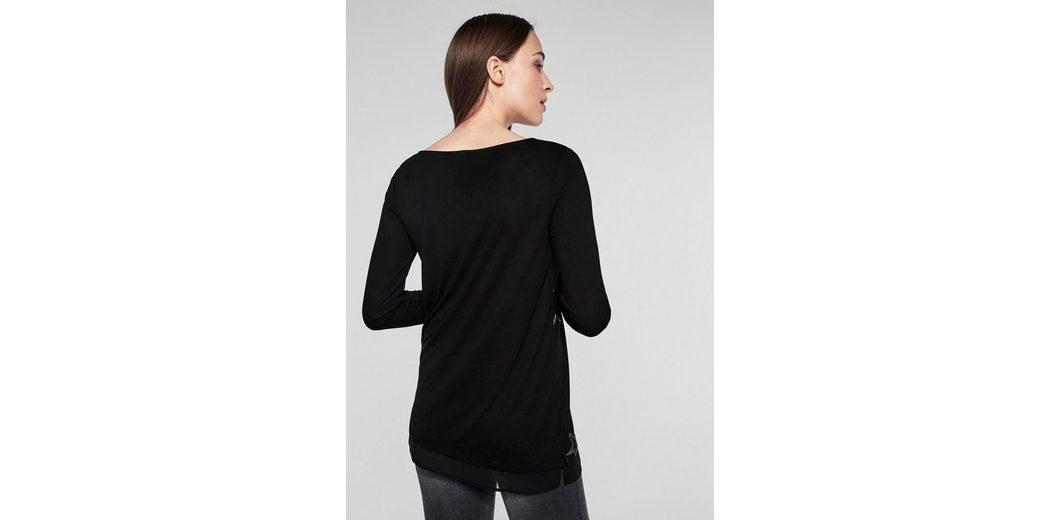s.Oliver BLACK LABEL Longshirt mit Metallic-Print Verkauf Blick Günstige Angebote 3FTomj