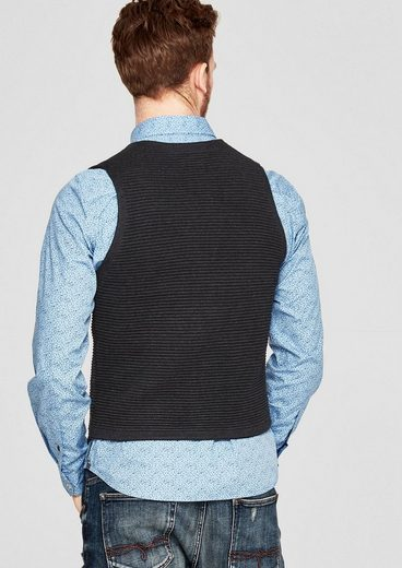 s.Oliver RED LABEL Strickweste mit Rippstruktur