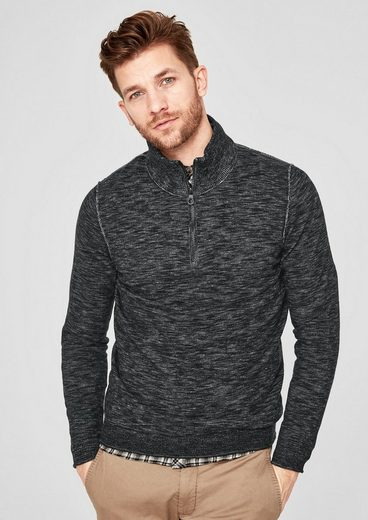 s.Oliver RED LABEL Pullover mit Rippkragen und Zipper