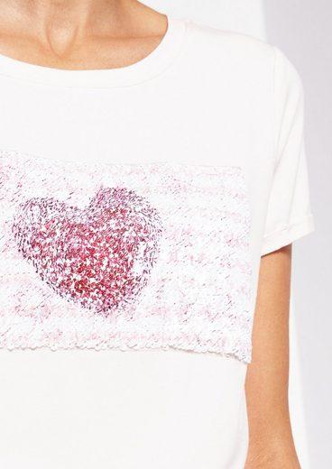 COMMA Kurzarmshirt mit liebevoll gearbeiteten Paillettenverzierungen