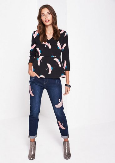 COMMA Griffiges 3/4-Arm Shirt mit Alloverprint