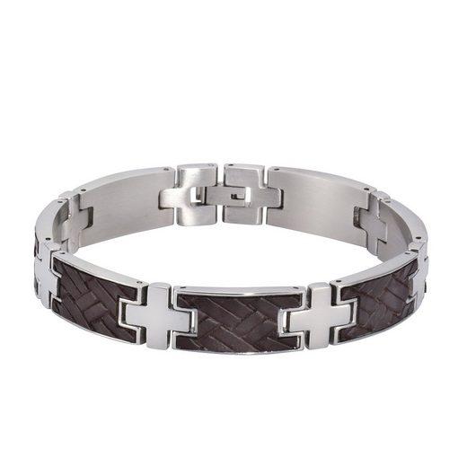 NOX Armband »Edelstahl 21,5cm Leder braun«