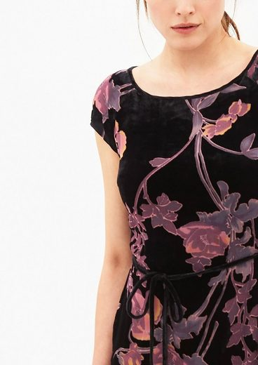 s.Oliver BLACK LABEL Samtkleid mit Blumenmuster