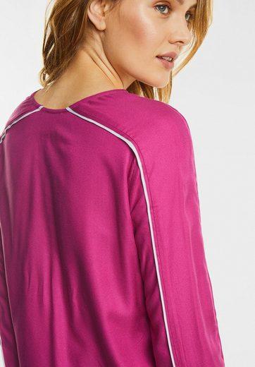 Street One Uni Bluse mit Kontrastbiesen
