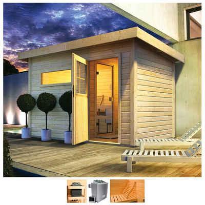 Karibu Saunahaus »Uwe 1«, BxTxH: 373 x 227 x 228 cm, 38 mm, 9-kW-Ofen mit ext. Steuerung, Vorraum