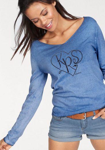 KangaROOS V-Ausschnitt-Pullover, im tollen Farbverlauf mit Herz Druck