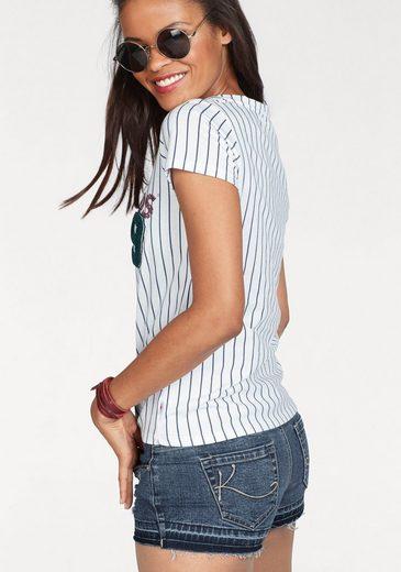 KangaROOS T-Shirt, im College Look mit Frottee-Applikation