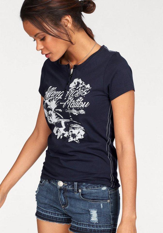 KangaROOS T-Shirt mit großem Front-Print und Knopfleiste online ... bbcb357ec3