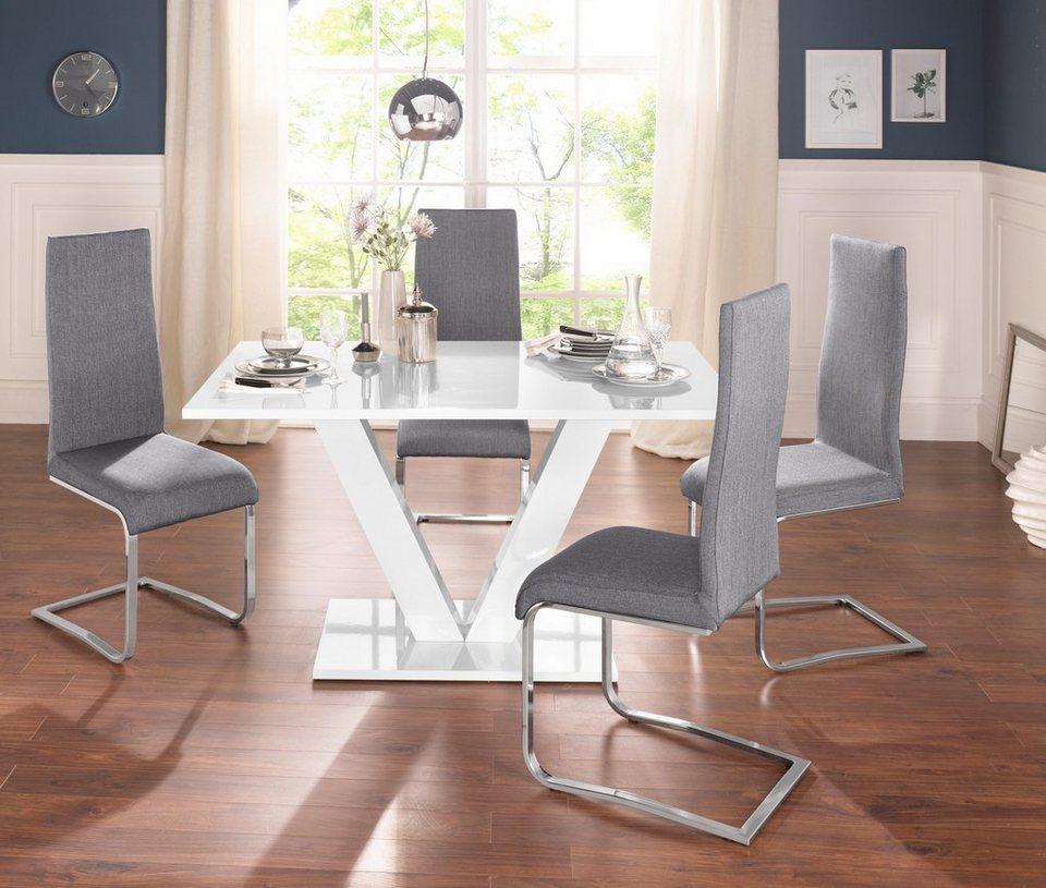 Essgruppe Mit 4 Stühlen Und Tisch In Weiß Hochglanz Online Kaufen Otto