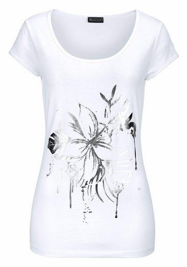 Laura Scott T-Shirt, mit glänzendem Blütenprint