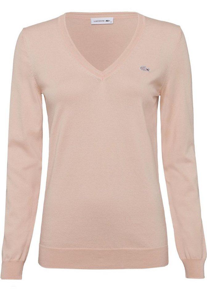 Lacoste V-Ausschnitt-Pullover aus leichter Feinstrickqualität online ... a0e1f4c283