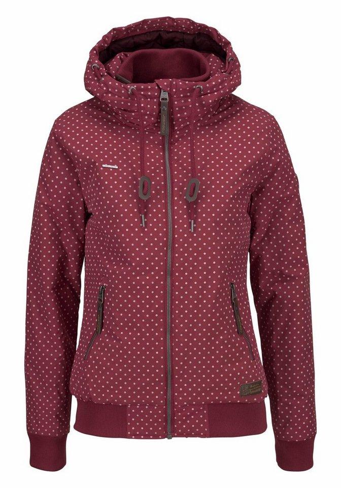 Ragwear Kurzjacke »Nuggie A« mit Kapuze und buntem Pünktchen-Design | Bekleidung > Jacken > Kurzjacken | Rot | Jeans | Ragwear
