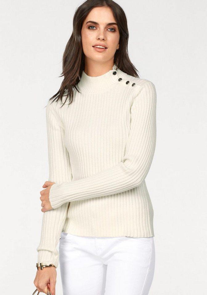 CLAIRE WOMAN Stehkragenpullover mit Knöpfen | Bekleidung > Pullover > Stehkragenpullover | Weiß | Acryl | CLAIRE WOMAN
