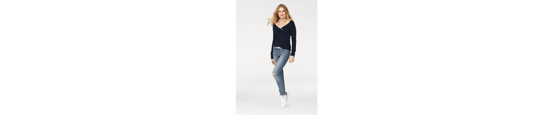 JACQUELINE de YONG V-Ausschnitt-Pullover ANCHOR Grenze Angebot Billig Preise Und Verfügbarkeit Für Verkauf Wahl nLyO3