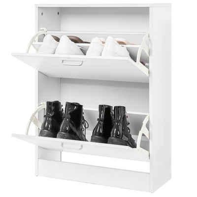 VASAGLE Schuhschrank »LBC02WT« Schuhkommode mit 2 Klappen, Schuhkipper, kleiner Flur, weiß