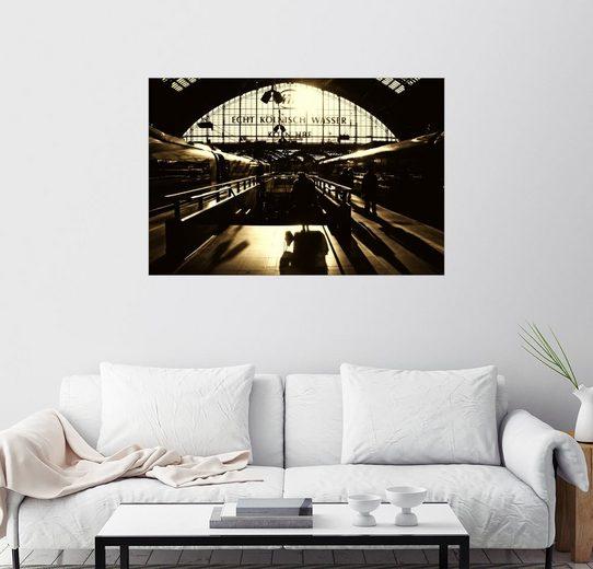 Posterlounge Wandbild - die Farbenflüsterin »Köln Bahnhof monochrom«