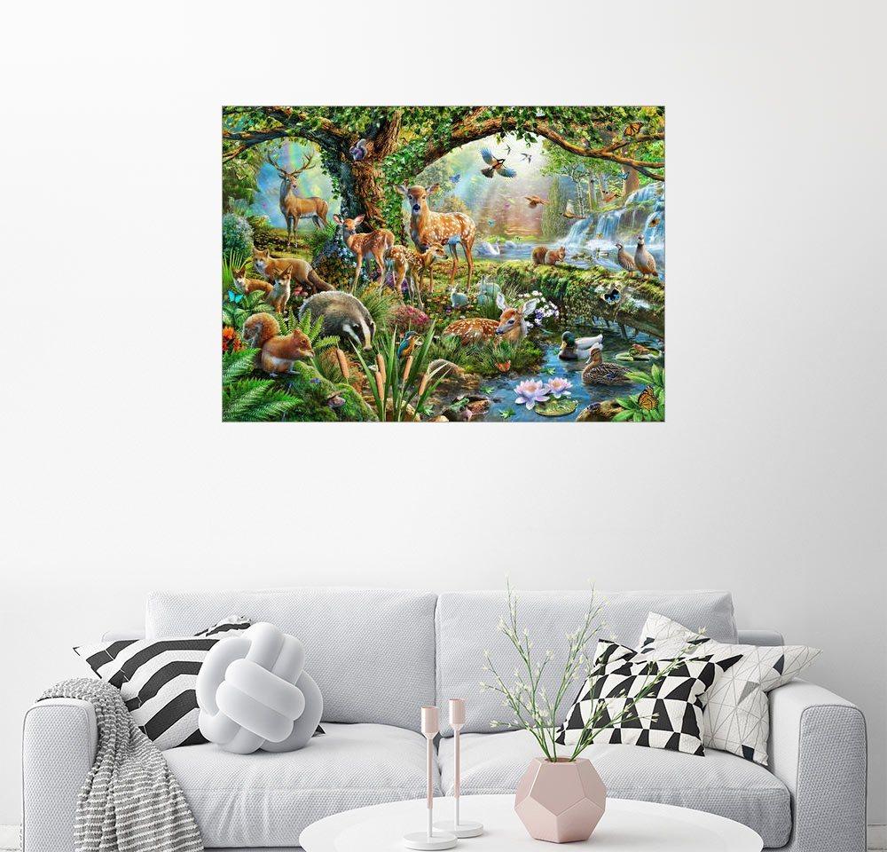 Posterlounge Wandbild - Adrian Chesterman »Waldtiere« | Dekoration > Bilder und Rahmen > Bilder | Holz | Posterlounge