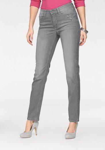 MAC Stretch-Jeans »Melanie Paradise Glam« Mit Perlenbesatz in blue und grey
