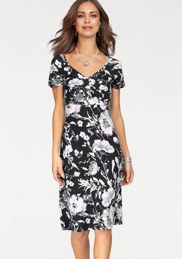 NAVIGAZIONE Jerseykleid, in Wickeloptik mit Blumen-Alloverdruck