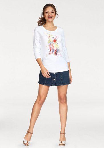 Frieda & Freddies Langarmshirt, mit Printmotiv und Glitzerdetails