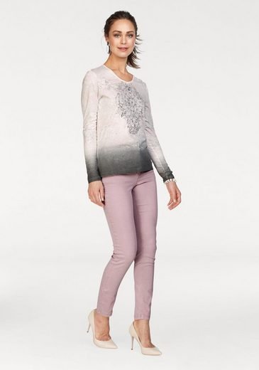 Olsen V-Shirt, mit Farbverlauf, Druck und Glitzersteinen