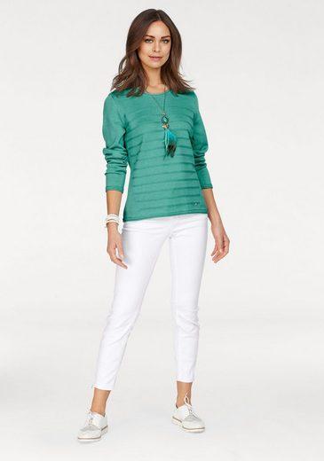 Olsen Rundhalspullover, Basic Pullover mit kleinem Streifen-Design im Vorderteil