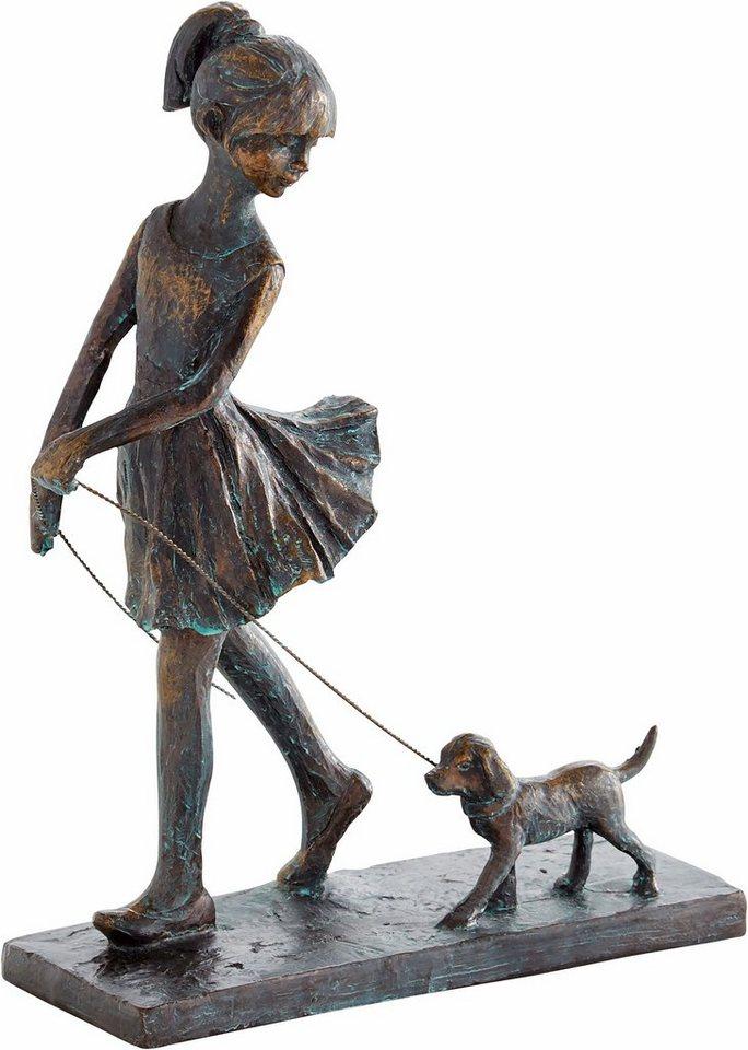 home affaire dekofigur frau geht mit hund spazieren bronzefigur farbig h he 27 cm online. Black Bedroom Furniture Sets. Home Design Ideas