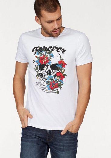 Tom Tailor Denim Rundhalsshirt, mit Totenkopfprint