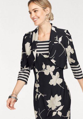 Damen,Herren HERMANN LANGE Collection Bolero festlicher Bolero aus festem Jersey mit Blumen-Druck blau | 04056055527128