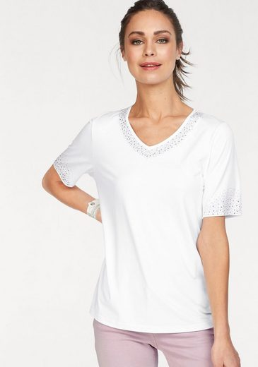Clarina V-Shirt, V-Shirt mit Dekoplättchen an Ausschnitt und Ärmel