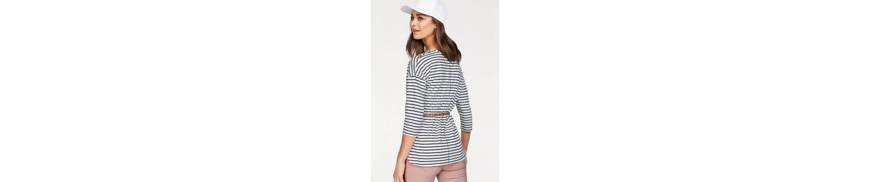 Olsen Rundhalsshirt, maritimer Look, gesteift, mit Ankern bedruckt