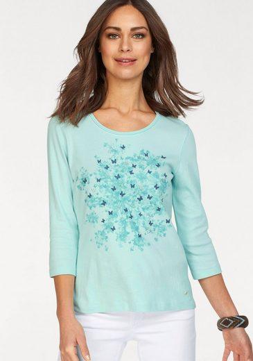 Olsen Print-Shirt, romantischer Schmetterlingsdruck