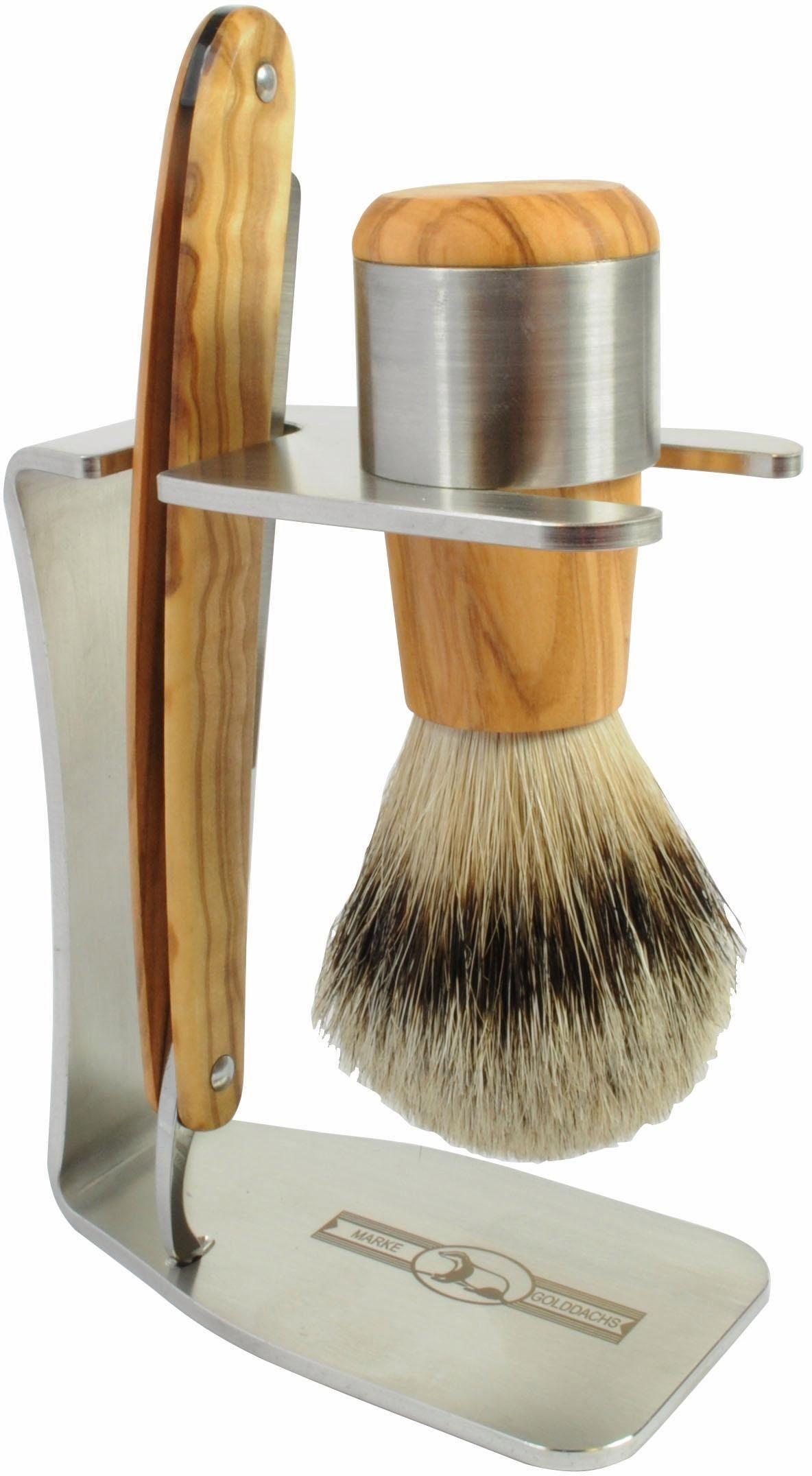 Golddachs, »Rasierset«, mit Rasiermesser und Pinsel (Silberspitze), aus Olivenholz (2-tlg.)