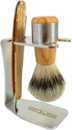 Golddachs Rasierset, 3-tlg., mit Rasiermesser und Pinsel (Silberspitze), aus Olivenholz
