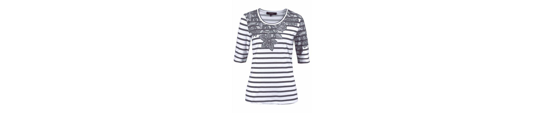 NAVIGAZIONE Rundhalsshirt, mit Druck in Spitzenoptik, Streifen und Glitzer-Nieten