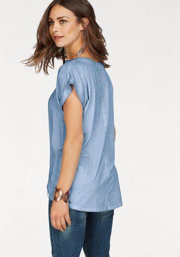 TIMEZONE Blusenshirt, Blusenshirt im Vintage-Look mit Pailletten