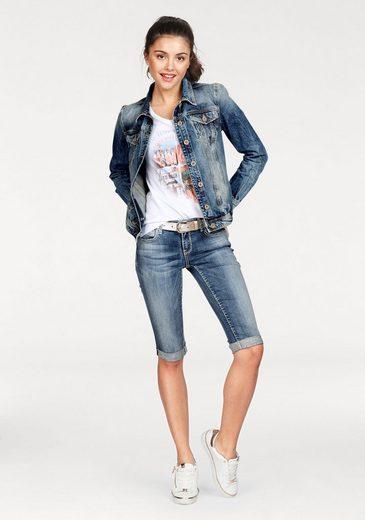 SOCCX Jeansjacke, mit auffälliger Stickerei hinten