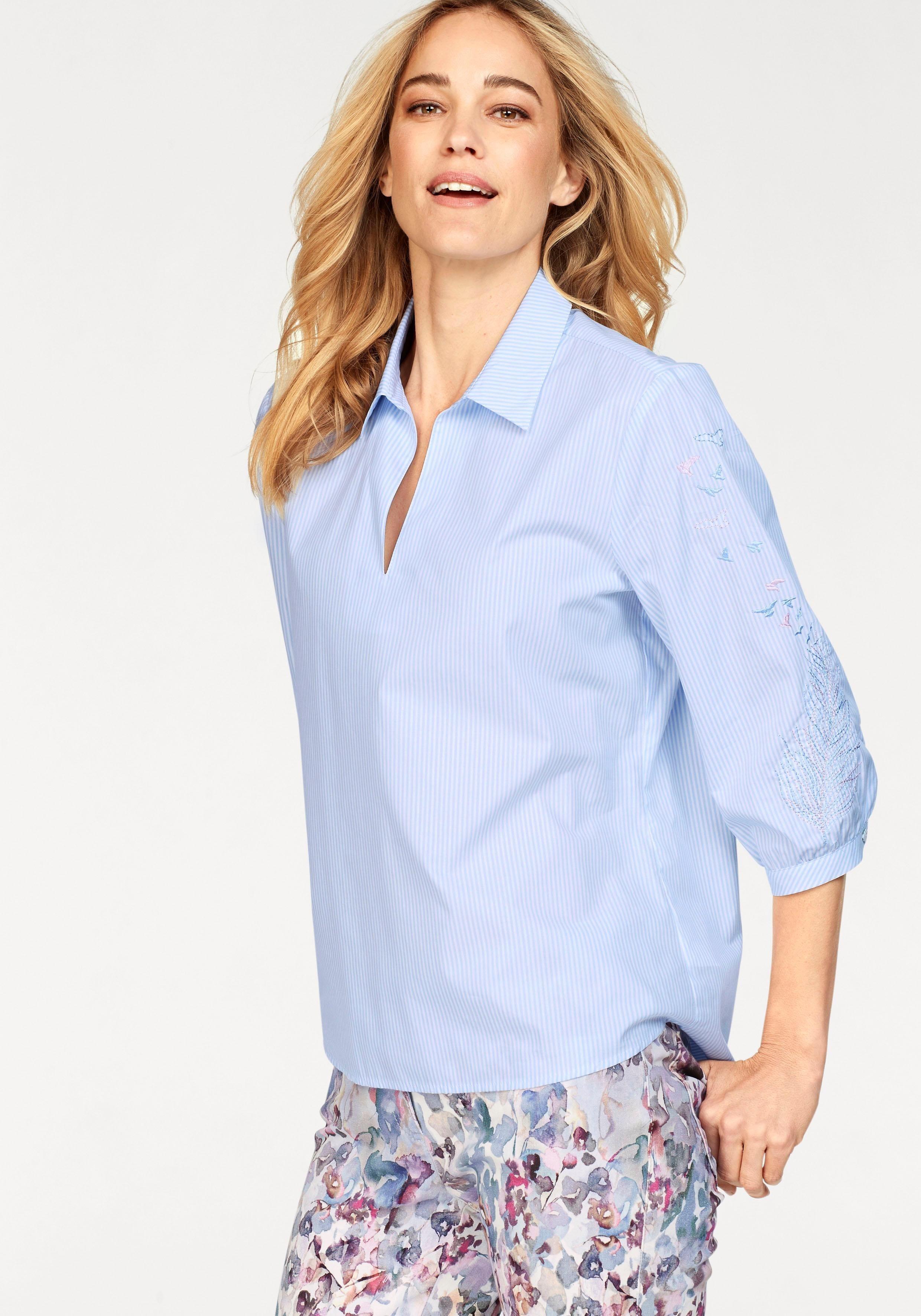 TONI Schlupfbluse, Tunika mit Hemdblusenkragen, kleinem V-Ausschnitt und Stickerei | Bekleidung > Tuniken > Sonstige Tuniken | TONI