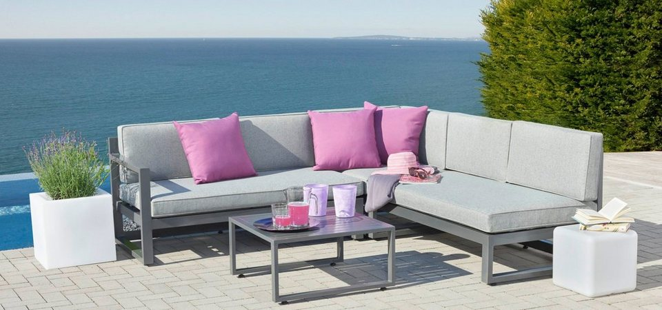 greemotion loungeset costa rica 3 tlg ecklounge tisch 64x64 cm metall grau online kaufen. Black Bedroom Furniture Sets. Home Design Ideas