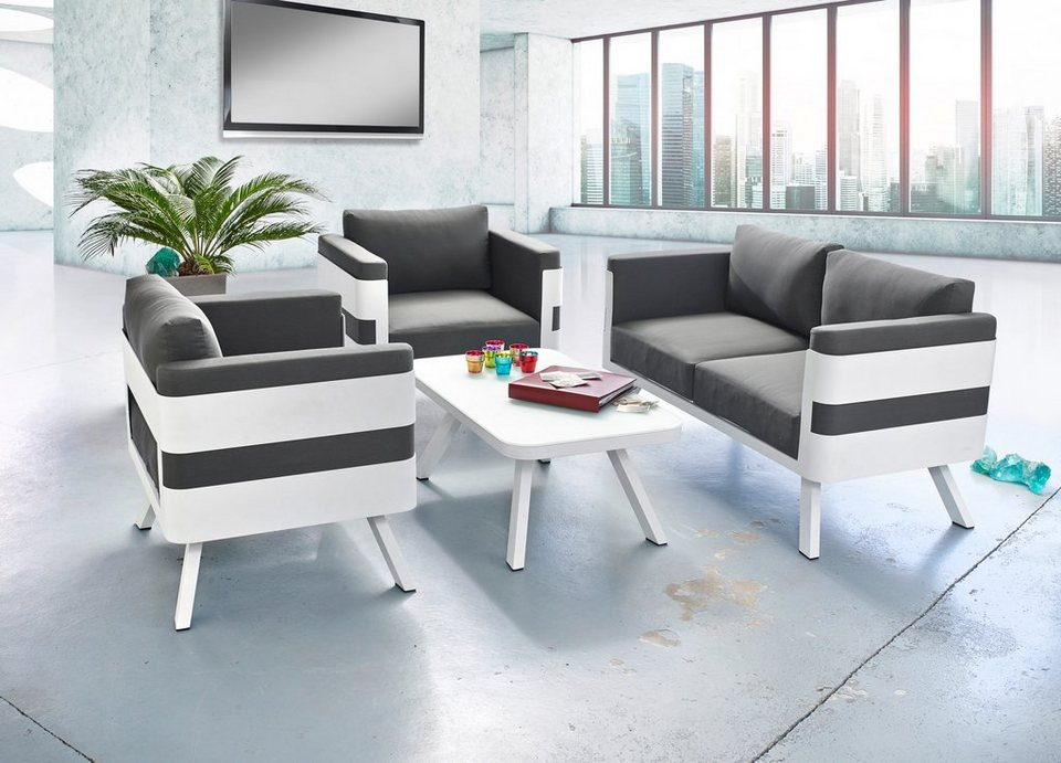 greemotion loungeset st tropez 4 tlg 2 sessel sofa tisch 60x60cm stahl wei online. Black Bedroom Furniture Sets. Home Design Ideas