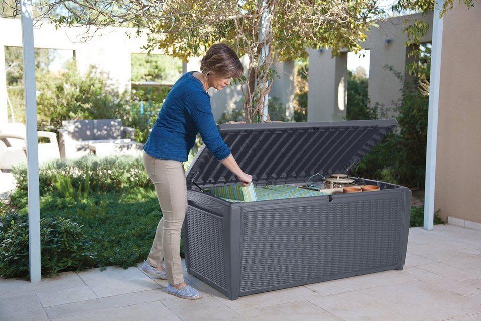 keter auflagenbox sumatra 145x64x73 cm mit sitzfunktion polypropylen anthrazit online. Black Bedroom Furniture Sets. Home Design Ideas